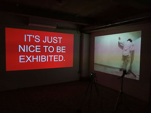 IT'S NICE TO BE EXHIBITED. video and performance installtion at the Pie Factory in Margate, UK, September 2017