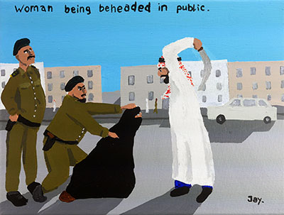 Bad Painting 59 by Jay Rechsteiner: woman being beheaded in public.