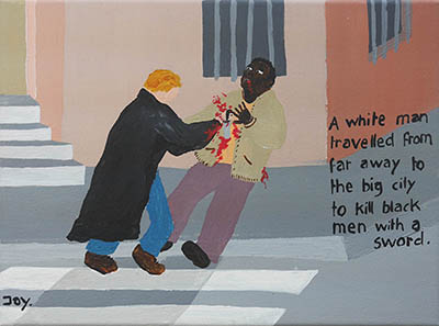 Bad Painting of a white man killing a black man with a sword by Jay Rechhsteiner