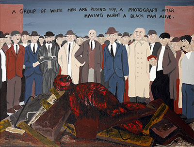 Bad Painting 103 by Jay Rechsteiner - white racists burning a black man alive, USA