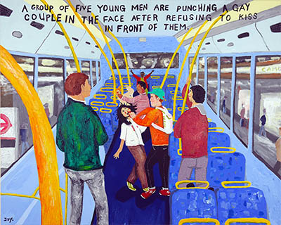 Bad Painting 113 attack on London bus by Jay Rechsteiner
