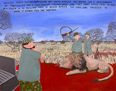 Bad Painting 116 canned hunting lions in South America by Jay Rechsteiner