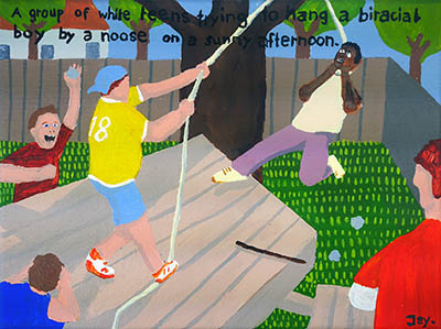 Bad Painting 68 by Jay Rechsteiner - white teens trying to hang a biracial boy by a noose