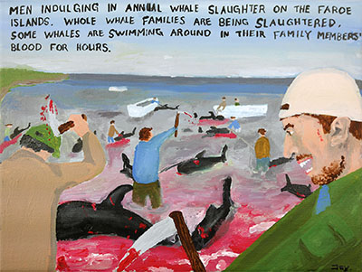 Bad Painting 82 by Jay Rechsteiner - whale slaughter on the Faroe Islands