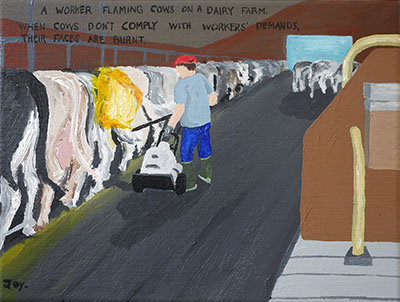 Bad Painting 83 by Jay Rechsteiner - animal abuse, diary, cows