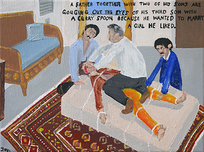 Bad Painting 86 by Jay Rechsteiner - father and sons gauging out eyes, true crime