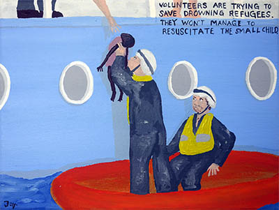 Bad Painting 92 by Jay Rechsteiner - saving refugees