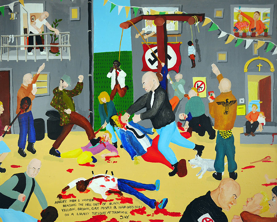 Bad Painting 01 by Jay Rechsteiner - Angry men & women beating the hell out of black, yellow, brown, gay people & hairdressers on a lovely Tuesday afternoon.
