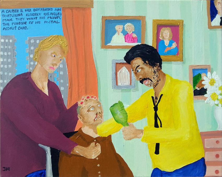 Bad Painting by Jay Rechsteiner, Carer and her boyfriend are torturing elderly disabled man. They want his money, the pincode of his postal account card